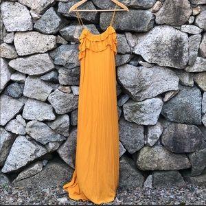 Zara | Mustard Yellow Ruffled Maxi Dress NWT